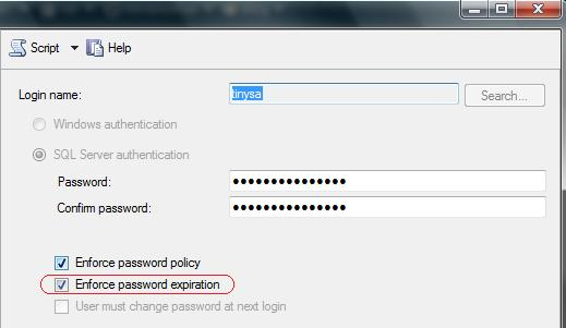 SQL Server 2005 - Enforce password expiration